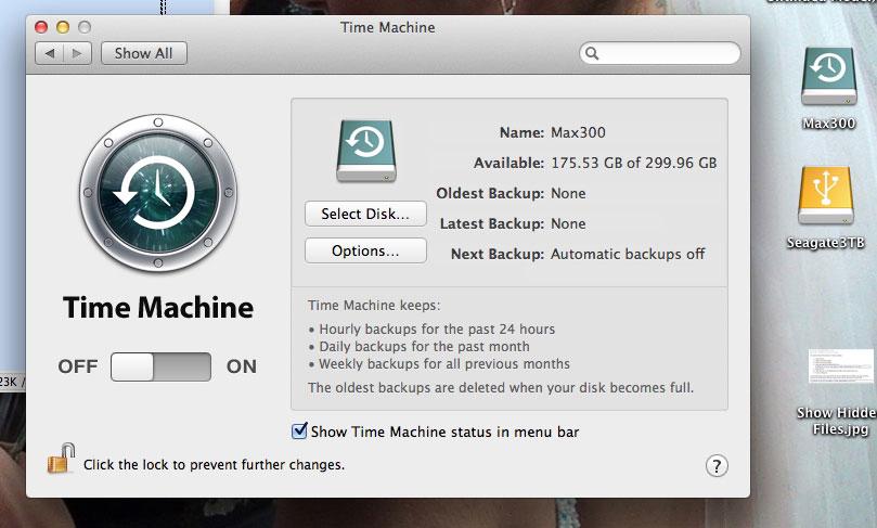 reformatting time machine
